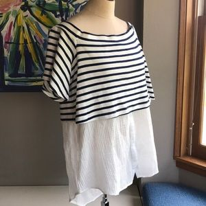 Anthropology gaugy  summer top. Navy & White